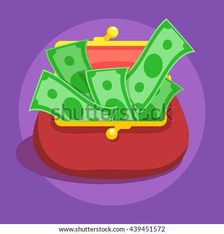 Money bills in red retro wallet flat vector icon illustration, dollar cash, rich financial status sign on violet color background - stock vector