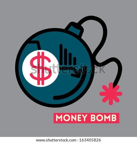 Money Bomb Dollar crisis concept illustration - stock vector