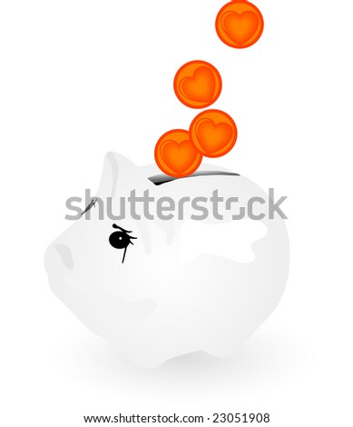 Money box with heart coins - stock vector
