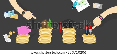 money budget allocation personal financial family - stock vector