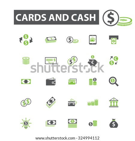 money, cards, cash payment icons - stock vector