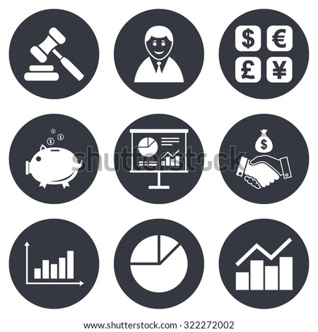 Money, cash and finance icons. Handshake, piggy bank and currency exchange signs. Chart, auction and businessman symbols. Gray flat circle buttons. Vector - stock vector
