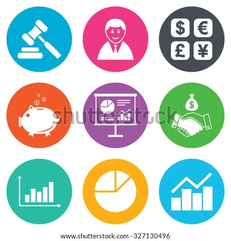 Money, cash and finance icons. Handshake, piggy bank and currency exchange signs. Chart, auction and businessman symbols. Flat circle buttons. Vector - stock vector