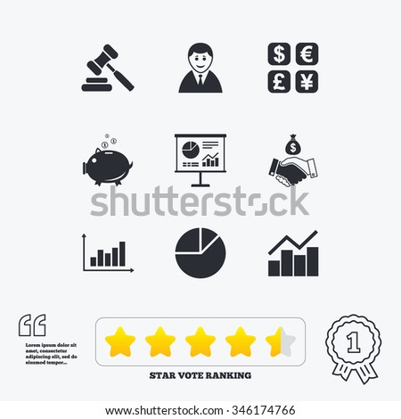 Money, cash and finance icons. Handshake, piggy bank and currency exchange signs. Chart, auction and businessman symbols. Star vote ranking. Award achievement and quotes. - stock vector