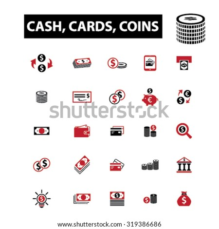 money, cash, cards, coins icons - stock vector