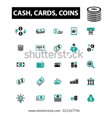 money: cash, cards, coins icons - stock vector