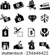 Money, cash, credit and debt icons. Vector icons for digital and print projects. - stock vector