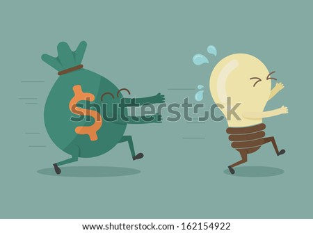 Money chasing ideas , eps10 vector format - stock vector