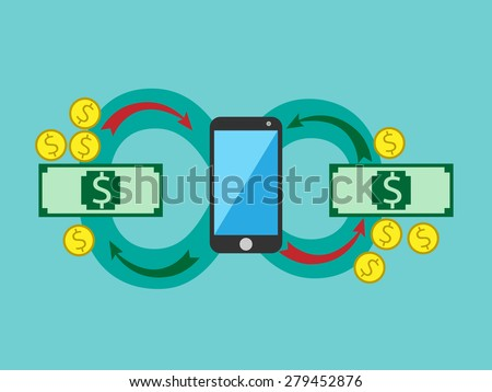 Money circulating through smart phone. Mobile payments, balance recharge, earnings, profit, salary, mobile bank or budget management concept. EPS 10 vector illustration, no transparency - stock vector