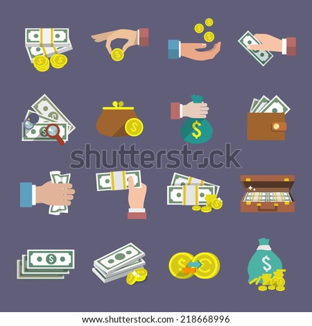 Money coin and paper cash icon flat set isolated vector illustration - stock vector