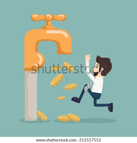 Money coins fall out of golden faucet , eps10 vector format - stock vector