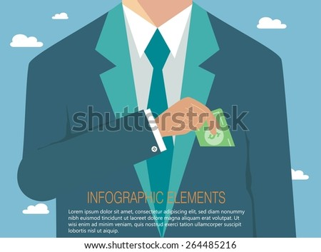 Money concept, corruption in business - stock vector