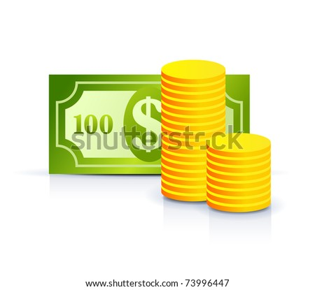 money concept icon - dollar note and coins - stock vector