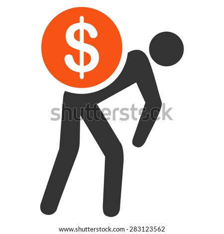 Money courier icon from Business Bicolor Set. Vector style: bicolor flat symbol, orange and gray colors, rounded angles, white background. - stock vector