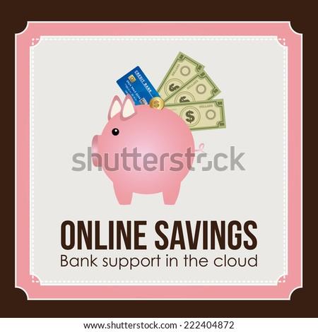 Money design over brown background, vector illustration - stock vector