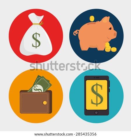 Money design over white background, vector illustration. - stock vector