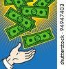 Money (dollar banknotes) falling from heaven, EPS 8, CMYK. - stock