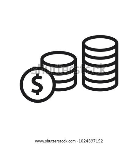 money dollar coin line art simple stock vector 1024397152 shutterstock rh shutterstock com Funny Money Clip Art Monopoly Money Clip Art