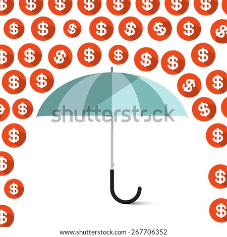 Money - Dollar Coins Rain and Umbrella Vector Illustration - stock vector