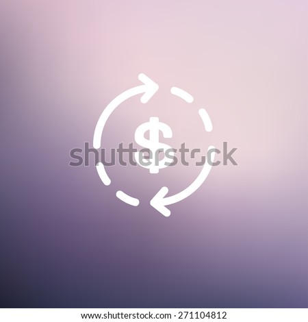 Money dollar symbol with arrow icon thin line for web and mobile, modern minimalistic flat design. Vector white icon on gradient mesh background. - stock vector