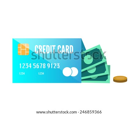 Money enclose with credit card. flat design element. vector - stock vector