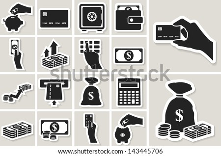 Money, finance and banking vector sticker icons set - stock vector
