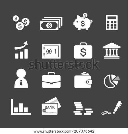 Money, finance, banking icons - stock vector
