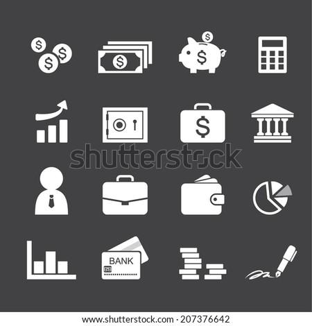 Money, finance, banking icons - stock vector