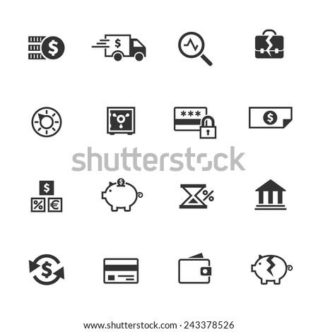 Money, finance, banking icons set - stock vector