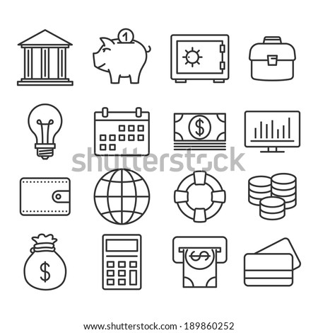 Money, finance, banking icons: vector Line set - stock vector