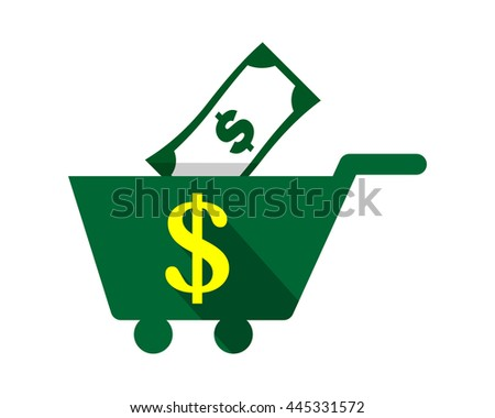 money finance dollar trolley cart carry carriage image vector icon logo