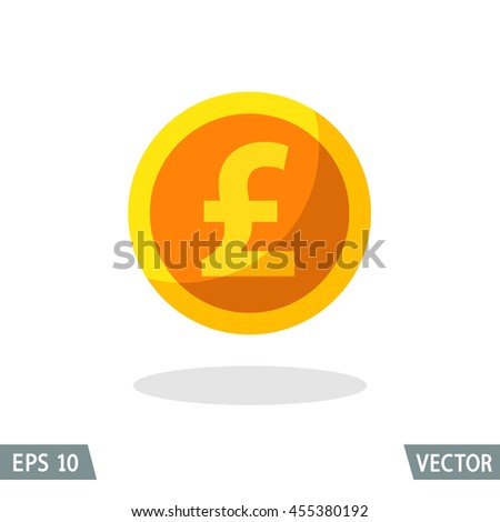 Money flat icon, gold British pound sterling symbol. Vector illustration for web and commercial use. - stock vector