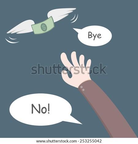 Money flying away from hand - stock vector