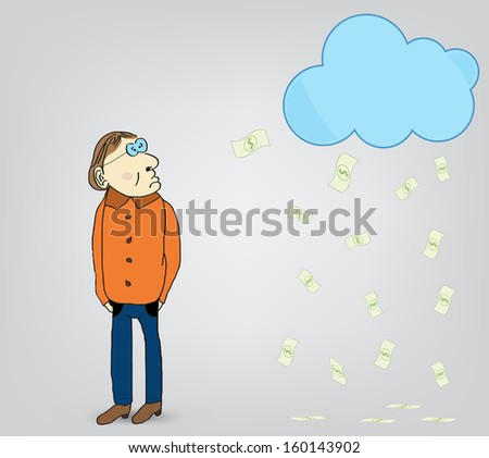 Money from the sky - stock vector