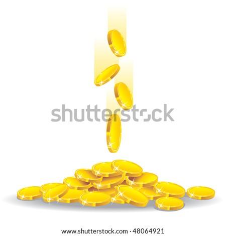 money golden rain, vector illustration - stock vector
