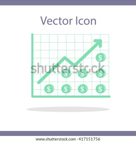 money graph increase profit stock white background