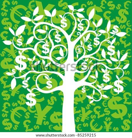 money growing on trees, dollars - stock vector