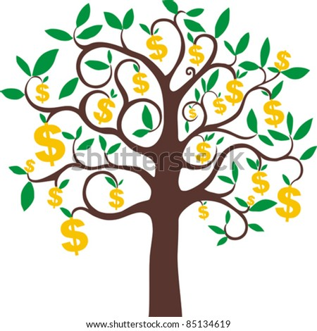 money growing on trees, dollars isolated on White background. Vector illustration - stock vector