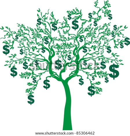 money growing on trees isolated on White background. Vector illustration - stock vector