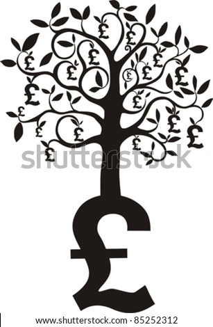money growing on trees, pounds isolated on White background. Vector illustration - stock vector