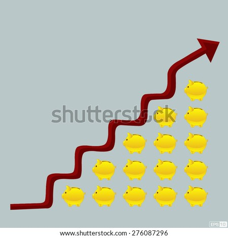 Money Growing or Savings or Investment with upward arrow graph - Illustration  - stock vector