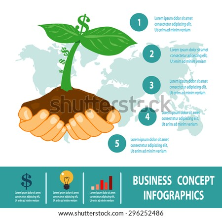 money growth in hand, business growing, business concepts in flat style, investing and attracting capital to business - stock vector