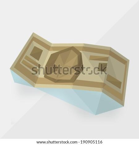 money icon (american  dollar) by triangles, polygon vector illustration - stock vector