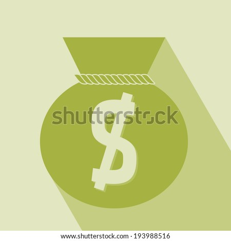 Money Icon. Money icon with bag, vector. Money bag icon on green Background. Vector illustration. Elements for design. - stock vector