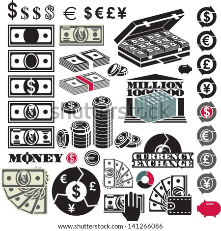 Money icon set. Dollar bill. Million. Currency icons. - stock vector