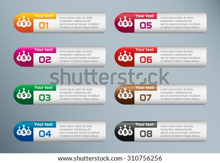 Money icon with three bags and marketing icons on Infographic design template. - stock vector