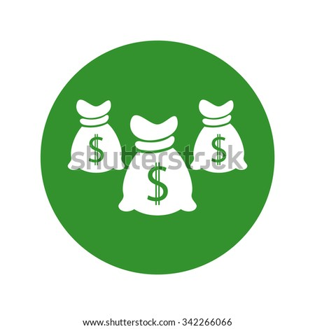 Money icon with three bags, vector. - stock vector