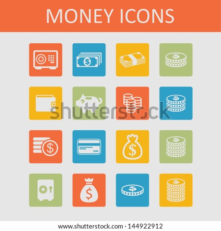 Money icons - stock vector