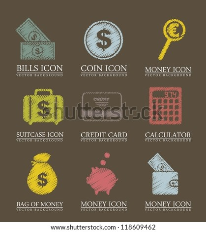 money icons over brown background. vector illustration - stock vector