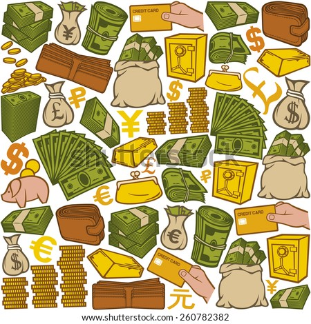 money icons seamless pattern (money seamless background,  finance or banking icons, money bag, bag with coins, safe, bullion, money roll, big stack of money, stack of coins, credit card, piggy bank) - stock vector